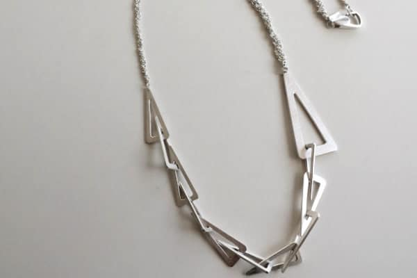 Eleven Triangles Sterling Silver Long Necklace