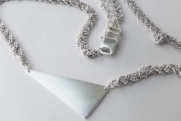 Solid Triangle Sterling Silver short necklace